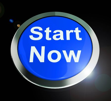 Start now button means commence launch and take action. Commence operation or begin a plan - 3d illustration Stock Photo