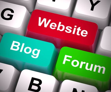 Website blog or forum the choice of promoting products on the internet. Publishing information using microblogging or sites - 3d illustration Фото со стока