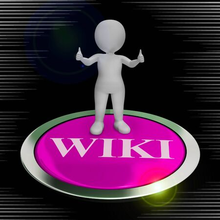 Wiki encyclopaedia concept icon means knowledge through group sharing of data. Learning online through a body of knowledge - 3d illustration