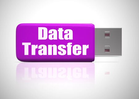 Data transfer icon shows connectivity for sending of data. Uploading or downloading from the internet - 3d illustration Banco de Imagens