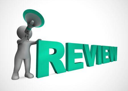 El icono del concepto de revisión significa examinar y verificar a través del estudio. Y valoración o evaluación de un producto - ilustración 3d Foto de archivo