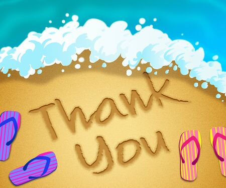 Thank you message means much obliged and with gratitude. Gratefulness and an acknowledgement of help - 3d illustration 스톡 콘텐츠