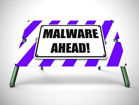 Malware ahead warning means computer virus or hacker ready. Beware of attack or danger from computer virus - 3d illustration