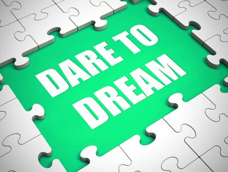 Dare to dream concept icon shows hope for the future. Aspiration, Ambition and imagination mindset - 3d illustration