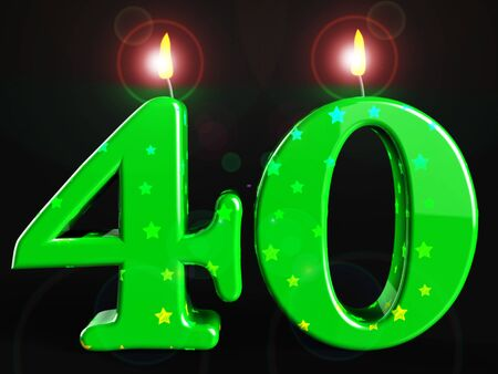 Fortieth birthday celebration candles shows a happy event. Celebrating 40th with a joyful 40 party - 3d illustration