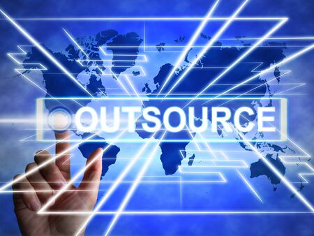 Outsource or contracting out means to subcontract or use external workers. Freelance projects or Global sourcing - 3d illustration Reklamní fotografie