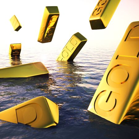 Gold bars mean wealth treasure and Riches. Ingots of bullion used for reserve money - 3d illustration Stok Fotoğraf