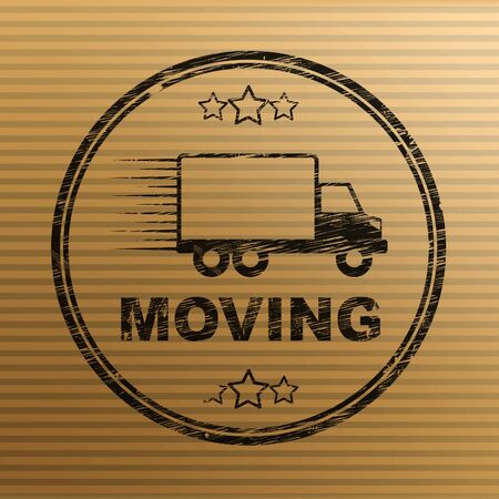 Moving house concept icon means relocating using delivery transport. Household resettlement and new place of residence - 3d illustration Stock Photo