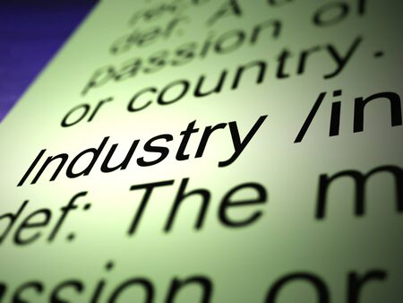 Industry concept icon means trade and manufacturing. Company production and industrial concerns - 3d illustration