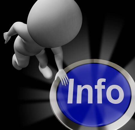 Info concept icon means information or data and Intelligence. Expertise or knowhow on a database - 3d illustration Banco de Imagens