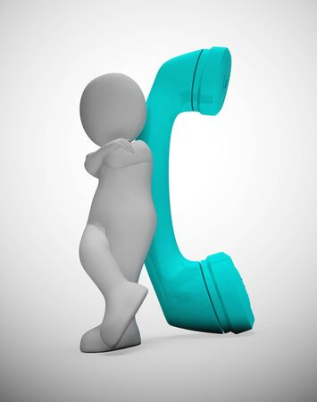 Telephone calling conversation shows long-distance communication and support. Landline telephony or incoming call - 3d illustration