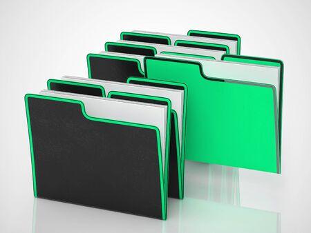 L'icona del concetto di file di cartelle mostra i record di dati per l'archiviazione e la conservazione dei registri. Informazioni per organizzare e archiviare - illustrazione 3d