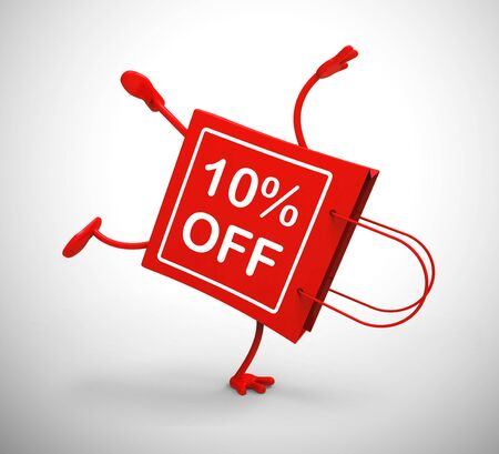 Ten percent off discount reduction showing 10% less price. Special offer discounted product - 3d illustration Stockfoto