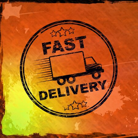 Fast delivery means Express service for distribution of goods. Quick mailing of parcels and products - 3d illustration Stock Photo