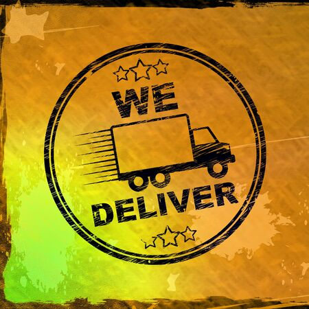 We deliver stamp means free delivery available on order. Shipman or postal freight possible - 3d illustration