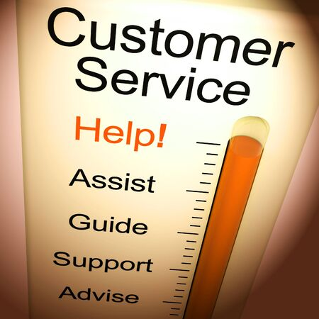 Customer service  concept icon means help and support online. The help desk or hotline for customers - 3d illustration Banco de Imagens
