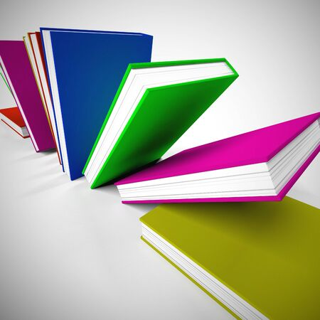 Selection of books for reading to gain knowledge and literacy. Printed matter for children or adults wanting learning or escapism - 3d illustration Stock Photo