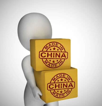 Made in China stamp shows Chinese products produced or fabricated in the PRC. Quality patriotic exports for international trade - 3d illustration Banco de Imagens