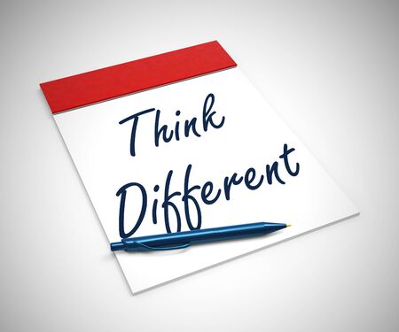 Think different or think outside the box for new ideas or approach. Diverse and varied Concepts from creativity - 3d illustration Stock Photo