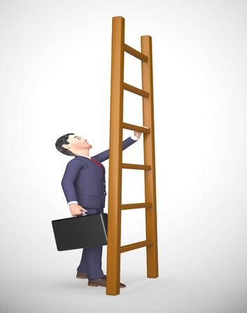Ladder to success concept icon means ambitious leader desiring goals. Climbing to successful achievement - 3d illustration