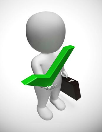 Check mark concept icon and businessman means approval.  A positive solution for support and agreement - 3d illustration