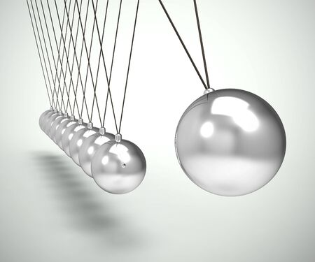 Newtons cradle pendulum with sphere or ball shows impact and effect. Swinging hypnotic physical experiment - 3d illustration Banco de Imagens