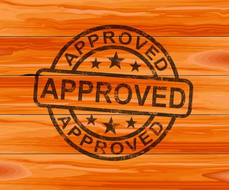 Approved concept icon shows endorsement of a contract to permit authority. Final approval and certification - 3d illustration Banco de Imagens