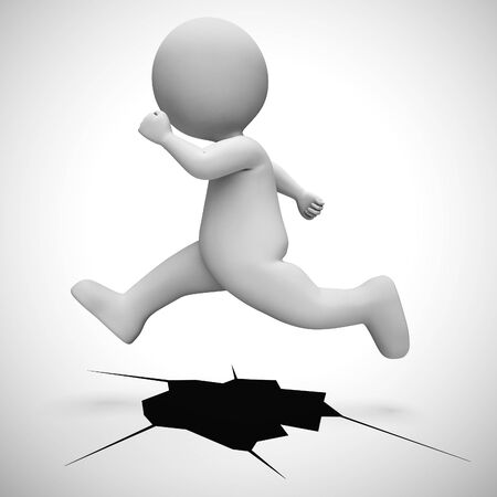 Overcoming challenges concept depicted by man jumping over a whole. Dealing with a challenge or obstacle - 3d illustration