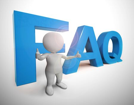 Faq symbol icon means answering questions to help support users or staff. A help desk or hotline for answering queries - 3d illustration Stok Fotoğraf