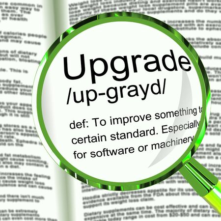 Upgrade concept icon means the latest and most modern version. Software updated with improved enhancements - 3d illustration Stock Photo