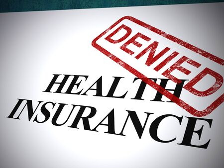 Health insurance denied letter means medical care refused. Health plan turned down To give benefits - 3d illustration - 3d illustration Foto de archivo