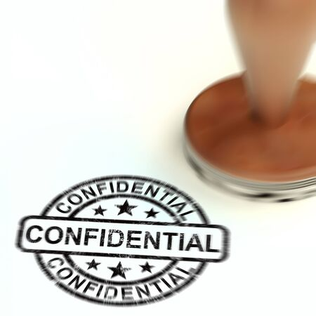 Confidential stamp concept for certifying documents as top secret. An important seal for secrecy and censorship - 3d illustration Stock Photo