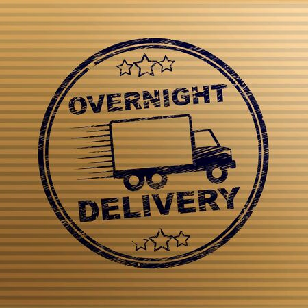 Overnight delivery stamp shows Express service 24 hours a day. Distribution and postal shipment quickly - 3d illustration