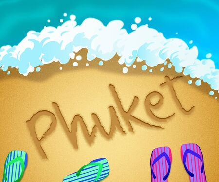 Phuket island beach shore representing tourism and vacations in Thailand. An idyllic exotic holiday by the ocean - 3d illustration Stock Photo