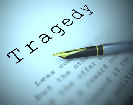 Tragedy concept icon means disaster catastrophe and calamity. Unhappy due to drama and depression - 3d illustration Stock Photo