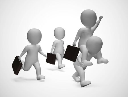 Businessmen celebrating as excited from a successful achievement. rejoicing and enjoying this success - 3d illustration