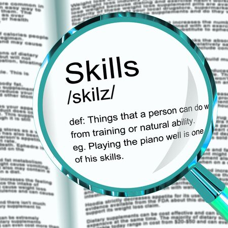 Skill or skills means expertise and KNOWHOW to be proficient. Skilled personnel and staff with great knowledge - 3d illustration