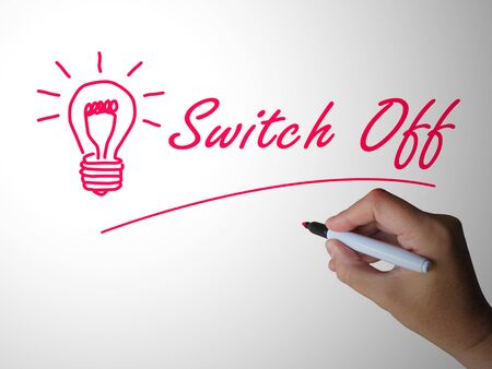 Switch off the light to save power and economize. Restriction of power usage to save consumption - 3d illustration