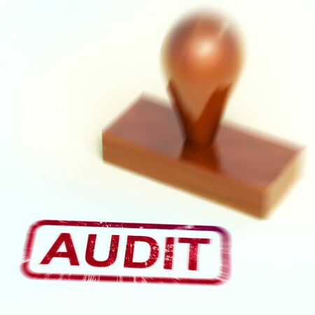 Financial audit concept icon shows taking stock of finances for tax or management. Checking and scrutinising paperwork - 3d illustration Stock Photo