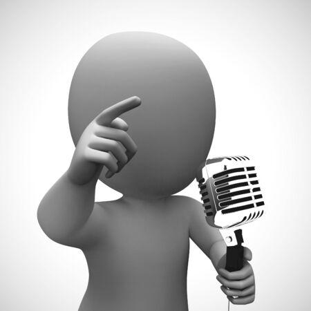 Microphone represents loudspeaker and performer like a singer. Vocalist or speech maker or a karaoke - 3d illustration Stok Fotoğraf - 131816656