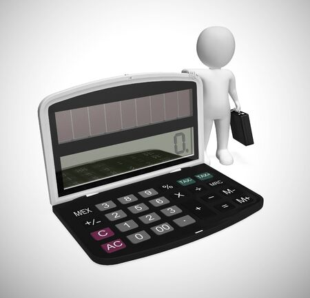 Business calculator with businessman depicts analysis of economic conditions. Processing data to find savings and income - 3d illustration
