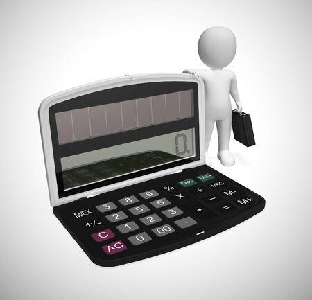 Il calcolatore di affari con l'uomo d'affari descrive l'analisi delle condizioni economiche. Elaborazione dei dati per trovare risparmi e reddito - illustrazione 3d