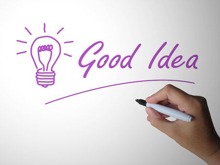 Good idea concept icon means brilliant brainstorming and good thinking. Nice thoughts and a great plan - 3d illustration Imagens