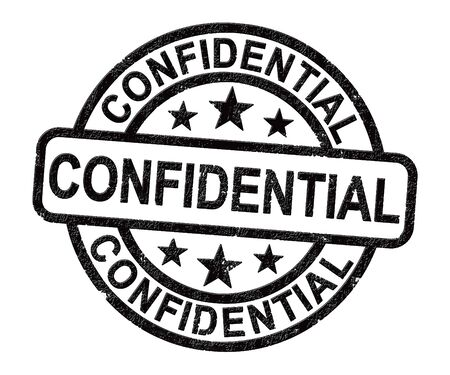 Confidential stamp concept for certifying documents as top secret. An important seal for secrecy and censorship - 3d illustration Stockfoto - 131816673