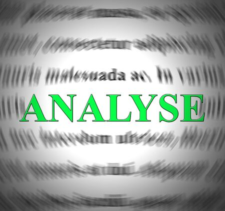 Analysis or analyse concept icon shows scrutiny of data or finances. Analyzing statistics to interpret results - 3d illustration Stok Fotoğraf