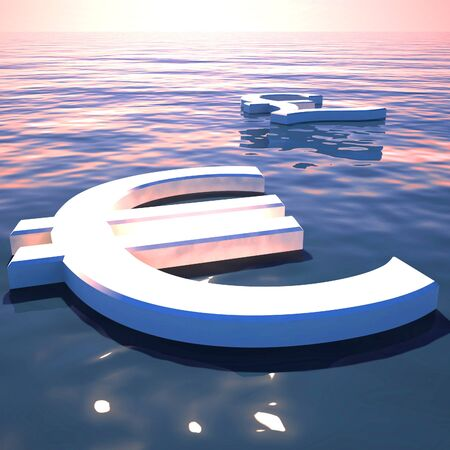 Euro sign concept icon means lots of funds or savings. Rich with cash in euros - 3d illustration Stock Photo