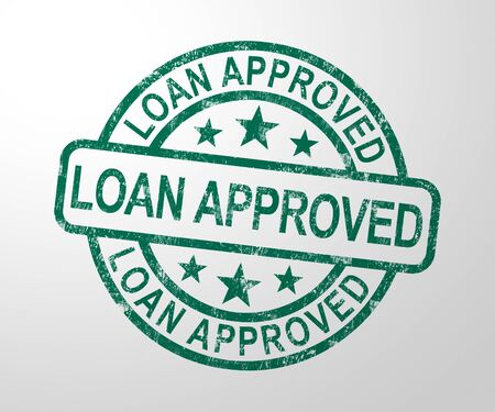 Loan approved stamp means financial borrowing accepted. Finance application authorised - 3d illustration Stock Photo