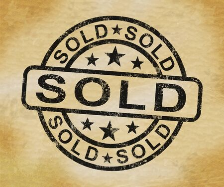 Sold stamp shows product disposed of and now off the market. Traded and vended already - 3d illustration Stock Photo
