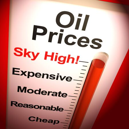 Oil prices sky-high means price of gas or petrol increasing. Pricey and unreasonable gasoline costs - 3d illustration