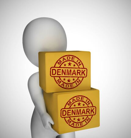 Made in Denmark stamp shows Danish products produced or fabricated. Quality patriotic exports for international trade - 3d illustration Stock Photo